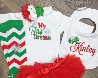 My First Christmas outfit Baby girl Christmas outfit My 1st Christmas baby girl outfit newborn Christmas outfit Baby girl christmas outfit