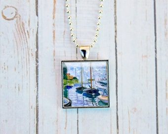 Claude Monet Sailboats on the Seine Necklace, Claude Monet Jewelry,  Blue Sailboats, Sailboat Necklace, Monet Jewelry,  Impressionism