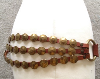 Triple 3-Strand Leather/Brass Embellished  Hip / Waist Belt - one size