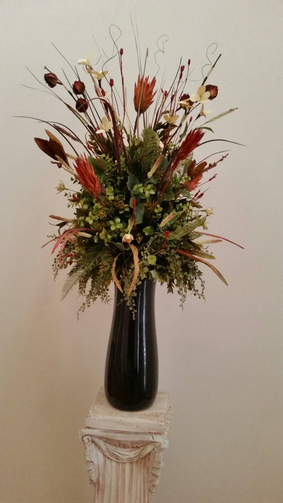 Extra large silk floral arrangement transitional contemporary for Foyer flower arrangement
