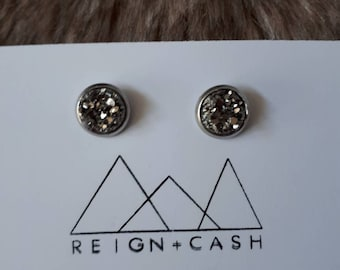 8mm gunnetal grey earrings