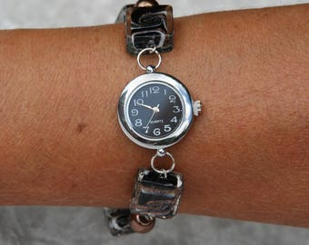 Watch black and brown glass beads