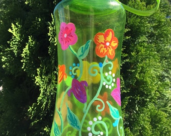 Hand-Painted Water Bottle with Flowers