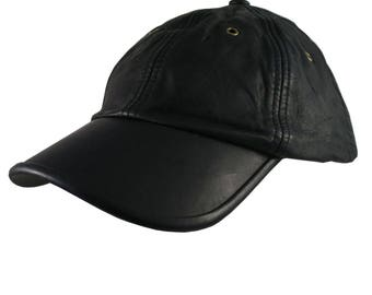 Genuine Black Leather Low Profile Adjustable Fashion Baseball Cap Dad Hat  Made in Canada