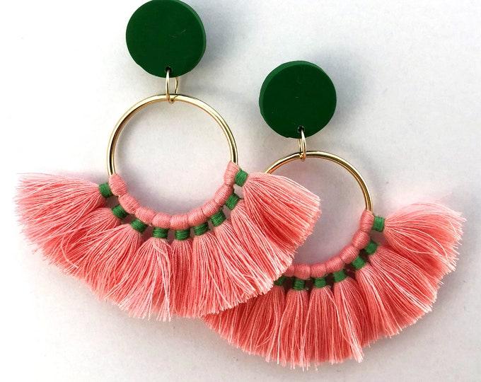 Pink Fan Tassel Statement Earrings