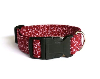 Red and white dog collar - Red floral pet collar - Red pet collar - Leaves dog collar - Branch pet collar - Red Dream dog collar