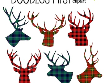 Tartan Deer Silhouettes  Clip Art for Scrapbooking Card Making Cupcake Toppers Paper Crafts