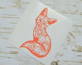 Mandala Fox Glitter Vinyl Decal, Laptop Decal, Mandala Animal, Fox Decal, Mandala Fox