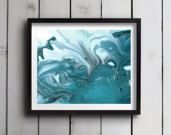 "Abstract Watercolor Giclée Fine Art Print - Teal Blue Watercolor - Original Design - Fine Art - Home Decor - Riptide ""A"" - 8x10 - 11x14"