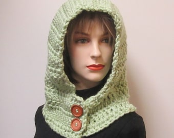Light Green Scarf with Hood, Crochet Hat, Hooded Scarf, Large Cowl, Gift for Her, Gift for Teen, Chunky Crochet Scarf, Caroline B4-113