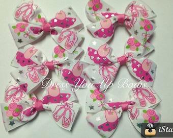 "Lot of 6 Bows - 4.5"" Ballet hair bow clip birthday party favor ballerina slipper tutu toddler teen dance studio class boutique bow wholesale"