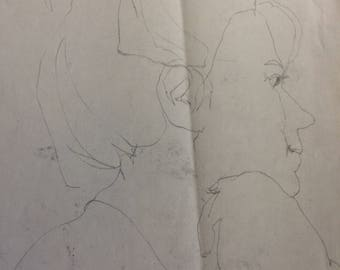 Lara - Pencil sketch, Lady's face, about 1960, no original found; a print, on acid free paper, delicate lines.  Free shipping in US.