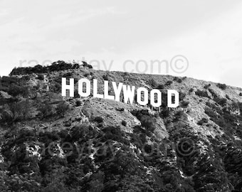 Los Angeles Print Black And White Hollywood Sign Office Decor Retro Modern