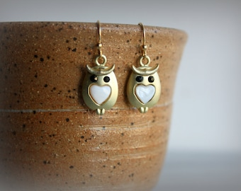 Tiny Owl Earrings, Gold, Woodland, Dangle, Gift for Her, by ktnunna