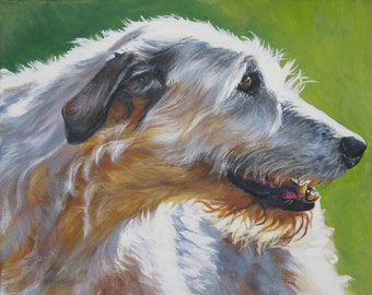 Irish Wolfhound dog art portrait canvas print of LA Shepard painting 11x14