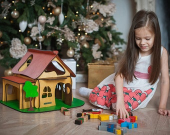 Wooden Dollhouse, Farm house, Wooden toy house, Wooden Doll House, Waldorf toy, House for dolls and animalls