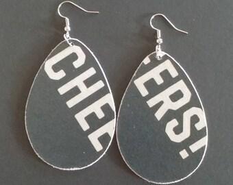 Repurposed Cardboard Craft Beer Coaster Earrings Austin Eastciders - Cheers!