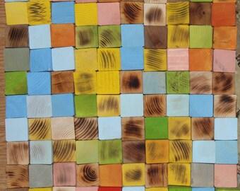 Wood Wall Art, reclaimed wood art, Woodburning Reclaimed Wood mosaic, Geometric art, Rustic Wood wall Art, Wood wall sculpture