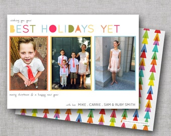 Holiday Cards with Photos | Christmas Cards | New Years Card | Modern Christmas Cards | Printable File or Printed Cards | Costco Size Cards
