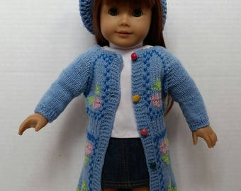 "Crochet Doll Sweater and Hat set  fits 18"" American Girl Doll"