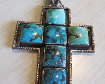 Large Sterling Silver and Turquoise Cross Pendant