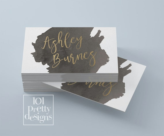 Watercolor business card template gold printable business card watercolor business card template gold printable business card design gold and black business cards custom business card gold foil makeup colourmoves Image collections