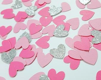 Light Pink, Medium Pink, Silver or Gold Glitter Heart Confetti | Valentine's Day Decor | Wedding Decor | Baby Shower | Bridal Shower Decor
