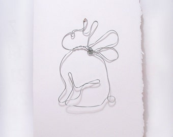 Bunny Art - Wire Art - Bunny Angel - Wire Sculpture on 5 x 7 Blank Greeting Card - Ornament - One of A Kind