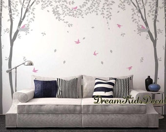 Tree Wall decals, nature wall decals, vinyl wall decal, nature wall decal stickers, nursery wall stickers-Birch forest leaves blowing-DK184L