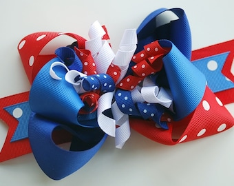 NEW STYLE .. double layer with korkers PATRIOTIC theme over the top hair bow