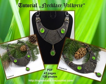 """Polymer clay tutorial """"Necklace """"Valkyrie"""" PDF Tutorial digital PDF format Create celtic pattern necklace Ethnic jewelry tutorial"""