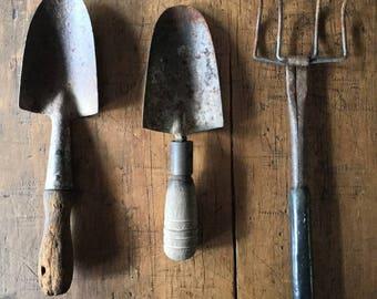 Rustic Garden Tools Shovel Fork Timber Metal Tool, Rusty, Chippy