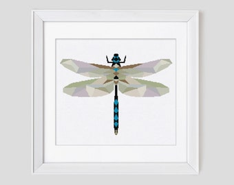 Modern cross stitch pattern, Dragonfly modern cross stitch pattern, counted cross stitch pattern, dragonfly cross stitch pdf pattern