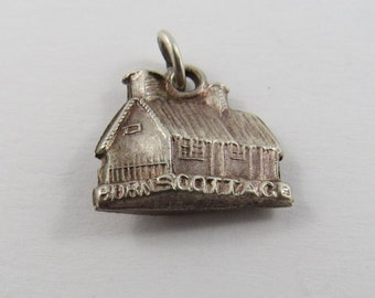 3D Burns Cottage Alloway in Ayrshire, Scotland Sterling Silver Charm or Pendant.