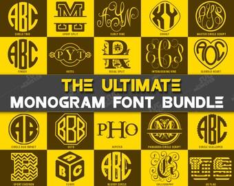 Monogram Font Bundle svg Monogram Font svg pack Font bundle -Master Circle Script -DXF Silhouette and Cricut fonts- 254