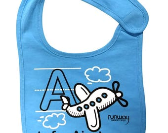 Sky Blue Baby 'A is for Airplane' Bib by runway THREE-SIX