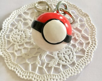 Polymer clay pokeball keychain