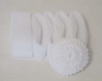 """White Netting In 2"""" Strips For Crocheting Scrubbies"""