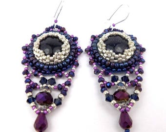 Embroidered earrings, Midnight blue purple gemstone, glass, silver, baroque style hooks