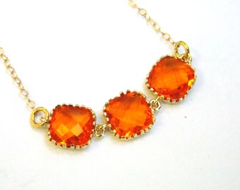 Orange Necklace, Glass Necklace, Gold Orange, Gold Filled Necklace, Tangerine, Bridesmaid Necklace, Bridal Jewelry, Bridesmaid Gifts