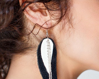 Black and white leather Feather Earrings, layered earrings, tribal Earrings, Boho earrings, dangle earrings, long earrings, leaf, wings
