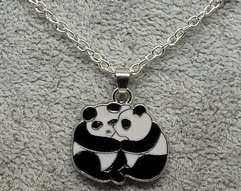 2 PANDA BEARS Hugging Charm, Pendant with .925 Necklace - R491