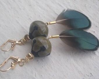 Gold Earrings: pheasant feathers and raku pottery