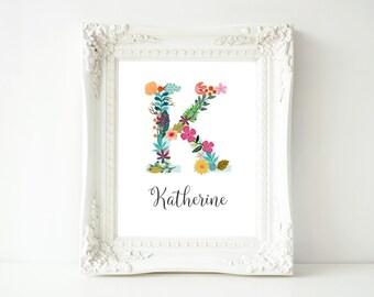 Personalized Printable Wall Art, Custom Name printable art, Baby Girl Nursery decor, Nursery art, Baby Girl Nursery Print, gallery wall