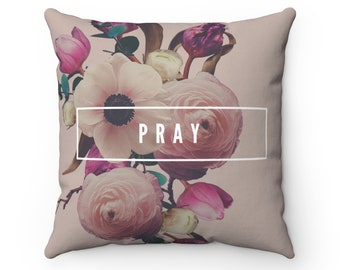 Pray Floral Square Pillow Case