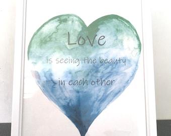 Heart Print, Abstract Art Print,  Watercolour Heart, Original Artwork Poster, Love Is Wall Art, Heart Wall Hanging
