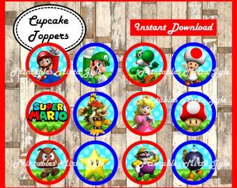 Mario Bros cupcakes toppers, printable Mario Bros party toppers, Mario Bros cupcakes toppers