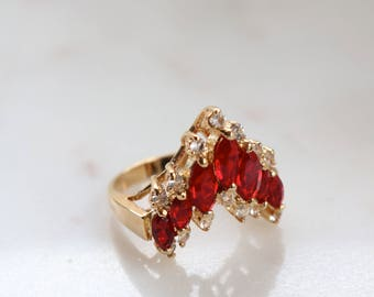 Red Crystal Gold Ring - Pointed Crystal Ring - Size 7.5 Women Ring - Sparkly Crystal Ring