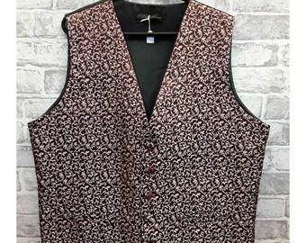 """Men's Wedding Vest, Men's Burgandy/Gold Brocade Waistcoat Men's Burgandy/Gold Brocade Vest Brocade Vest, Brocade Waistcoat 46""""-48"""" Chest"""