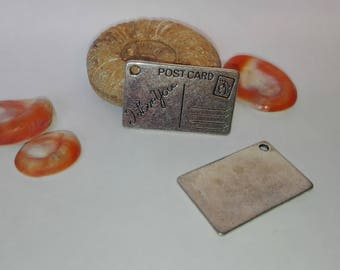 """Pendant """"postcard, i love you"""", silver plated 15 * 25mm"""